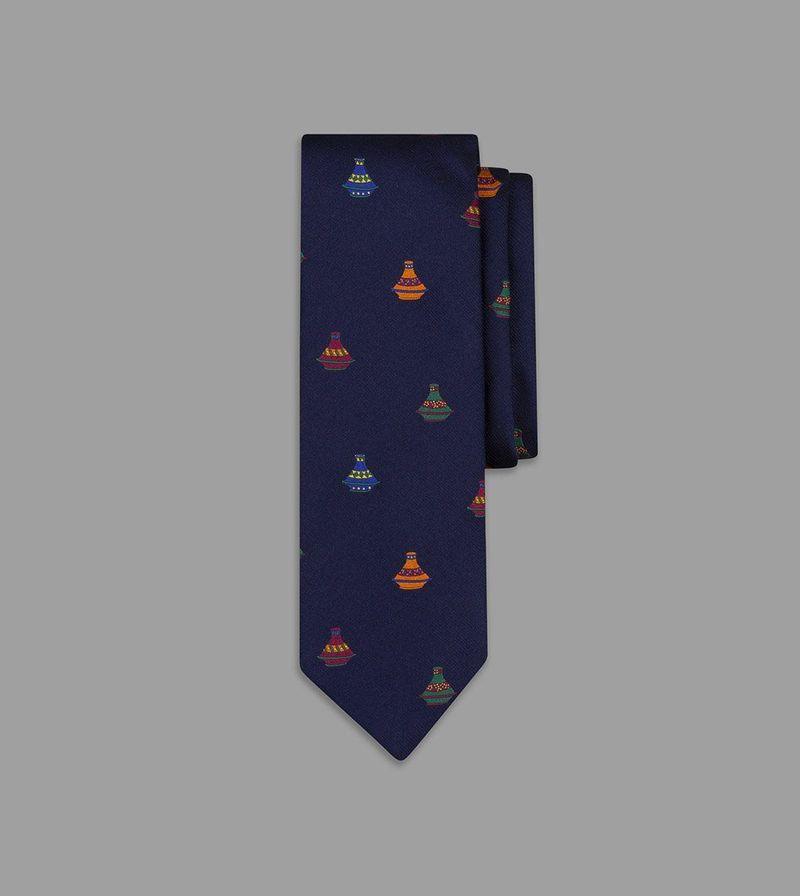 海軍藍陶瓷圖案真絲領帶