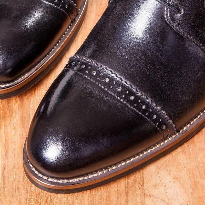 Vanger紳高.橫紋雕花徳比增高鞋